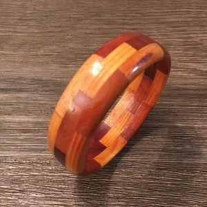 Vintage Wooden Bangle Bracelet Signed H. Hilbert